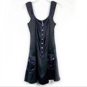 Free People Retro Black Button Front Silk Dress